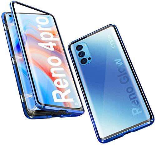 youmehe Magnetic Adsorption Handyhülle für Oppo Reno 4 Pro 5G,360 Grad Schutz,Starke Magneten Aluminiumrahmen Gehärtetes Glas Metall Flip Cover