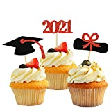 🍰【48PCS Red Glitter Graduation Cupcake Toppers】Package Includes 16*Diploma Picks, 16*2021 Picks, 16*Graduation Cap, totally 48 Pieces. These are perfect choice for cake decorations of various theme parties to celebrate kindergarten, primary, junior, ...