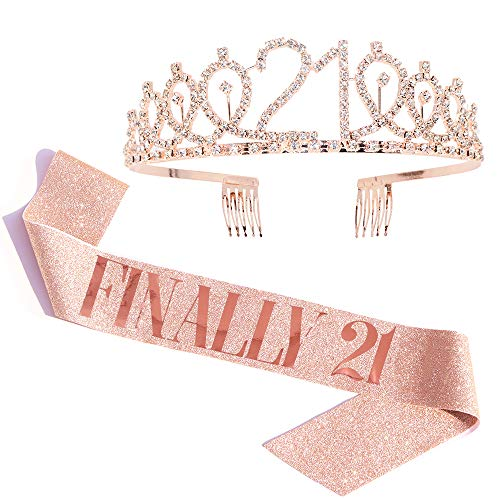 'Finally 21' Sash & Rhinestone Tiara Set - 21st Birthday Gifts Birthday Sash for Women Fun Party Favors Birthday Party Supplies (Gold Glitter with Rose Gold Lettering)