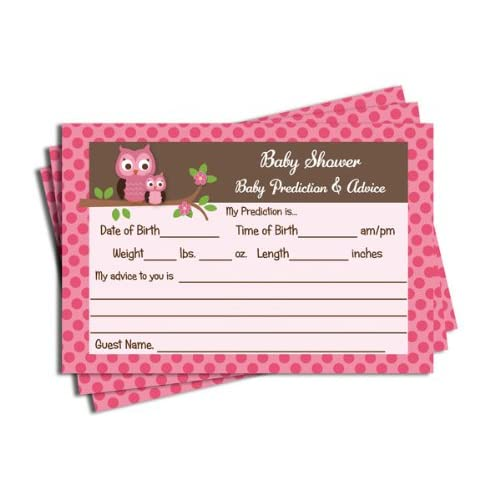 Pink Owl Themed Baby Shower Advice Prediction Cards For Mom Games 50