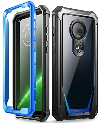 Poetic Moto G7 Rugged Clear Case, Full-Body Hybrid Shockproof Bumper Cover, Built-in-Screen Protector, Guardian Series, DO NOT FIT Moto G7 Power Or Moto G7 Play, Blue/Clear