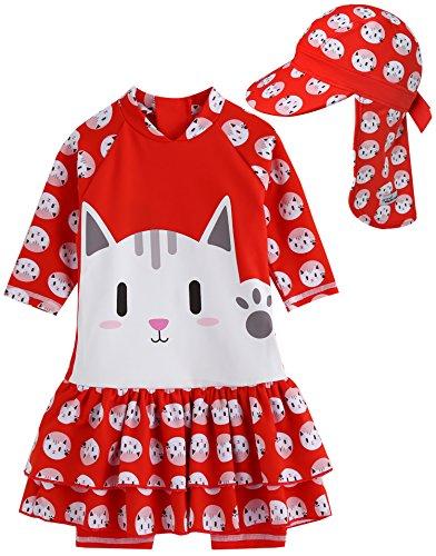 Vaenait bébé 0–24m Enfants Maedchen OnePiece Rashguard 23404Swimwear, Hello Cat with Flapcap