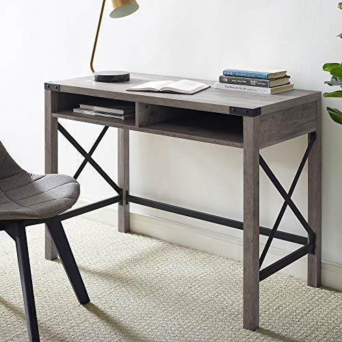 Walker Edison Rustic Modern Farmhouse Metal and Wood Laptop Computer Writing Desk Home Office Workstation Small, 42 Inch, Grey Wash
