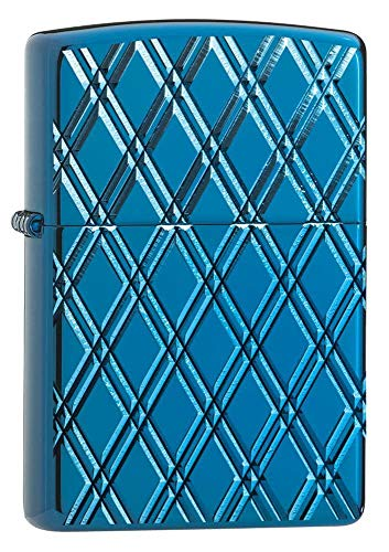Zippo Unisex's Armor High Polish Blue Diamonds Pocket Lighter, One Size
