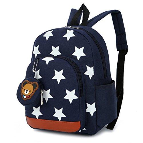 Mochila para niños,Bolsos de Escuela para niños Mochila de Mochila de niño pequeño Bolsas preescolares de guardería Cute Star Bear (3-7 años de Edad)-Azul Oscuro