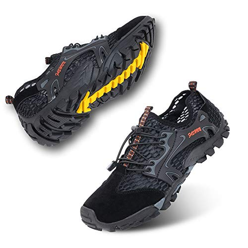 Zapatillas de Trail Running Hombre Barefoot Zapatos de Agua Surf Escarpines Buceo Piscina Playa Trekking Deportes Secado Rápido Negro-1 44 EU