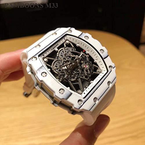 CWTCHY Militärische weiße Gummiband wasserdicht Herrenuhren Marke weißes Zifferblatt automatische militärische Armbanduhr Uhr