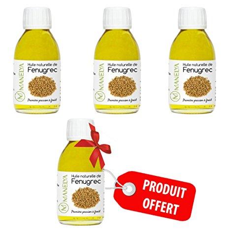 Huile De Fenugrec 125 ml - Lot de 4 (1 Offert) 100% Pure et Naturelle Manelya