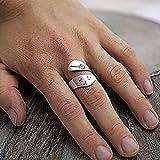 WFZ17 Anillo de dedo ajustable con diseño de diente de león en espiral, para mujer, para fiesta, joyería de regalo, plata