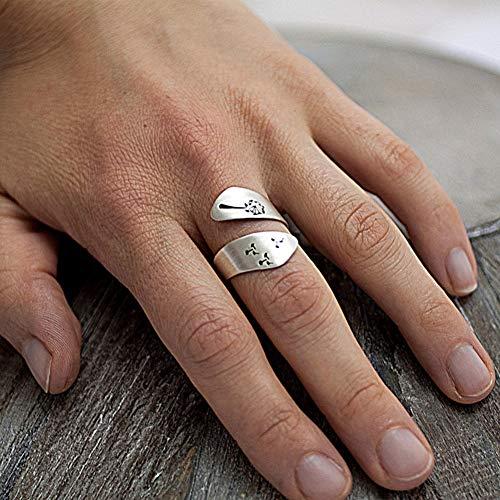 WFZ17 Anillo de dedo ajustable con diseño de diente de león en espiral, para...