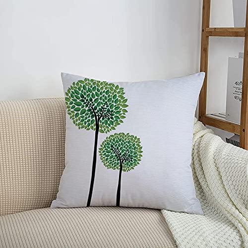 Fundas de cojines sencillas y clásicas de 45 x 45 cm,Abstracto, árboles estilizados con hojas verdes frescas Na,ideales para casa, oficina o para la espalda en el coche - Fundas de Poliéster para sofá