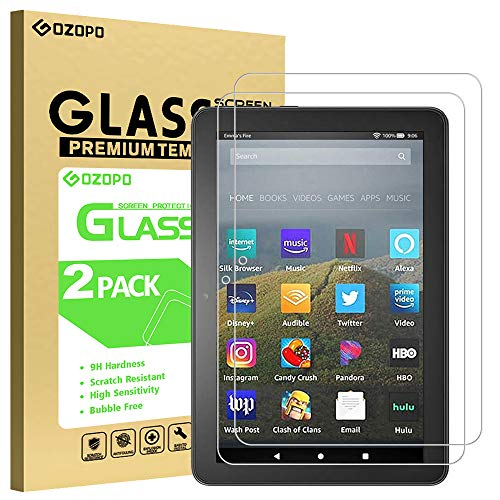 [2-Pack] GOZOPO Screen Protector for Fire HD 8 Tablet (10th Gen - 2020 Released) /Fire HD 8 Plus/Fire HD 8 Kids [2.5D Edge] Tempered Glass, [Anti-Scratch]