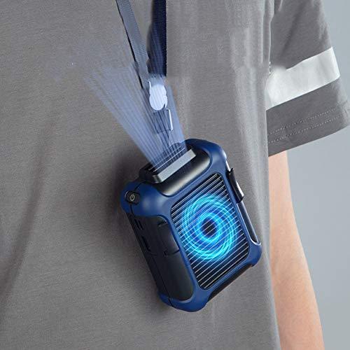 WJY Mini Ventilador portátil, Ventilador de Cintura Colgante USB Recargable Cintura Colgando Ventilador de Cuello Colgante Abanico Portátil Ventilador Al Aire Libre Perezoso (Color : Blue)