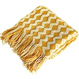 NTBAY Acrylic Knitted Throw Blanket, Lightweight and Soft Cozy Decorative Woven Blanket with Tassels for Travel, Couch, Bed, Sofa, 51 x 67 Inches, Mustard Yellow Wave