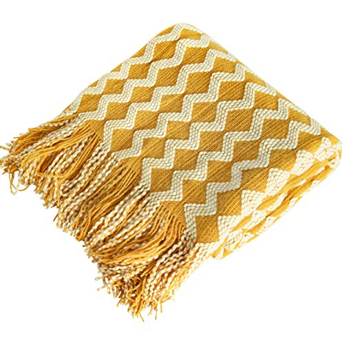 NTBAY Acrylic Knitted Throw Blanket, Lightweight and Soft Cozy Decorative Woven Blanket with Tassels for Travel, Couch, Bed, Sofa, 51 x 67 Inches, Yellow Wave