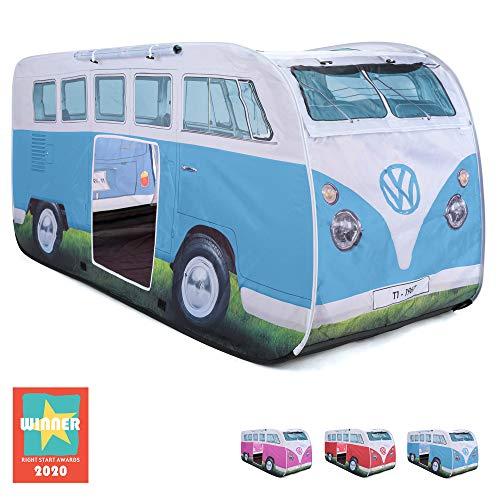 Board Masters Volkswagen VW-Bulli-Wurfzelt und Pop-Up Zelt für Kinder, UPF50+, Camping- und Spielzelt für Mädchen und Jungen, Blau