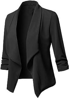 RISTHY Trajes Chaqueta Mujer Blazer Mangas Largas Primavera Invierno Abrigo Color Sólido Cardigan de Oficina Casual Traje ...