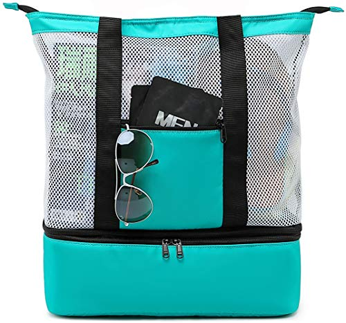 BLUBOON Mesh Beach Tote Bag with Cooler Compartment Insulated Detachable Picnic Bag and Solid Zip Closure Pool Bag Travel Tote Shoulder Bag(Green)