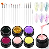 Ownest 6 Colors Spider Gel, Matrix Gel with Gel Paint Design Nail Art Kit Wire Drawing Nail Gel for Line, Soak Off UV LED DIY Manicure Nail Art Decoration With 15 Nail Art Brushes-#B