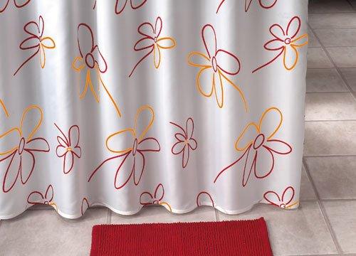 Der Jalousienladen Duschvorhang ~ Motiv: Blumen Muster ~ Farbe: rot-orange/Weiss ~ Maße: 180 x 200 cm (BxH) ~ 100prozent Polyester ~ mit 12 Ösen ~ ohne Duschringe