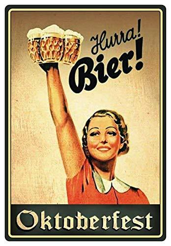 Blechschild 20x30cm gewölbt Oktoberfest Hurra Bier! Frau in Tracht mit Bierkrügen Deko Geschenk Schild