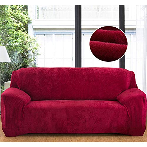 WAXCC Plush Stretch Solid Color Thickening Sofa Cover Chair Cover Cushion Cover Sofa Towel,Wine Red,1,Seat 90,140cm