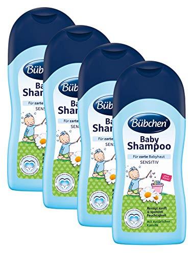 Bübchen Baby Shampoo sensitiv, mildes Babyshampoo für zarte Babyhaut, mit natürlicher Kamille, Menge: 4 x 200 ml