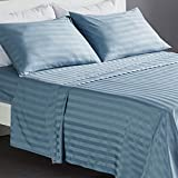 SLEEP ZONE 4-Piece Striped Bed Sheet Set - Temperature Regulation Sheets -...
