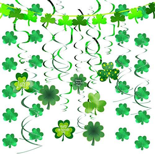 JOYIN 27 Pcs St Patrick#039s Day Decoration with Irish Saint Patricks Green Shamrock Foil Strings Hanging Swirls with Garland St Patricks Ceiling Hanging and Wall Decoration