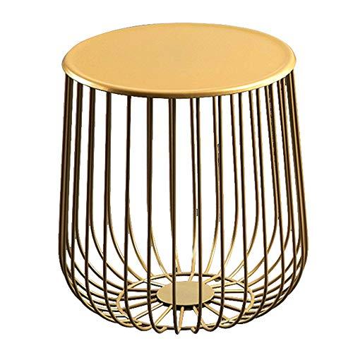 CHUNLAN Table ronde en métal, forme creuse, table basse en fer forgé, table d'appoint de canapé de salon de chambre à coucher, or, 35 * 40cm