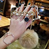 Hand Chain Holder Bracelet Pom-pom Ball Luxury Back Make-up for Teen Girls Lady Mirror Slim TPU Bumper Bright Reflection Mirror Case for HTC One M8 (Gold)