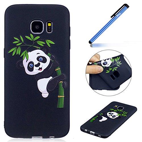 Ysimee Coque Samsung Galaxy S7 Edge, Étui Silicone Noir avec Motifs Drôles Imprimé Flexible Souple Gel Opaque Housse de Protection Antichoc TPU Bumper Mince et Léger Coque pour Galaxy S7 Edge,Panda