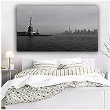 MZDesign Póster Arte de Pared Rascacielos Manhattan EE. UU. Ciudad de Nueva York Bahía Estatua de la Libertad Carteles e Impresiones Cuadros Lienzo Pintura -60x90cmx1 sin Marco
