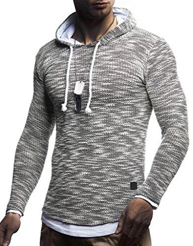 Leif Nelson LN8179 Pull à capuche en coton pour homme Blanc -  Noir - XX-Large