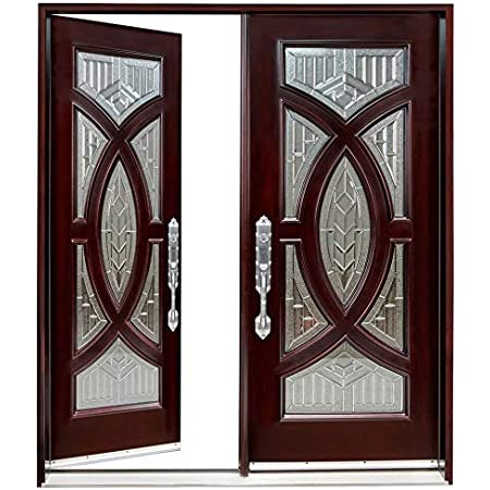 Exterior Double Front Entry Doors 60 X96 Left Hand Open Prehung Finished