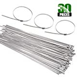 Keadic 30Pcs 8 Inches 304 Stainless Steel Zip Ties Exhaust Wrap Coated Locking, Metal Cable Zip Ties for Computer Wire Harness, Automotive Parts and more