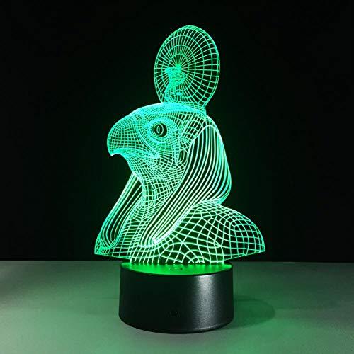 LIkaxyd 3D-Illusion Kinderzimmer Led-Nachtlicht 7-Farbig Verstellbare Touch-Fernbedienung, 3D-Nachtlicht, Beste Weihnachtsgeschenk Und Geburtstagsgeschenk, Ägyptischer Sonnengott