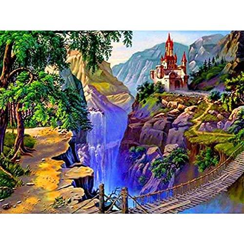 Pintura de diamante redondo completo 5D paisaje cascada Kit de punto de cruz bordado de diamantes de imitación imagen de mosaico A10 40x50cm
