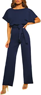 Happy Sailed Womens Short Sleeve Belted Romper Jumpsuits Wide Leg Short Pants Playsuits
