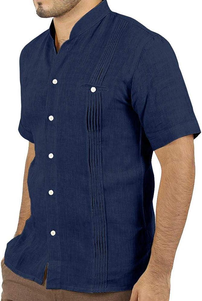 Taoliyuan Guayabera Camisas de lino para hombre, manga corta ...