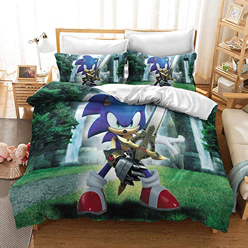 Meiju Children Microfiber Duvet Cover Set, Blue Hedgehog 3D Stamp Bedding Set for Single Double King Size Bed Quilt Covers with Pillowcases Easy Care (220x260cm,Excalibur Sonic)