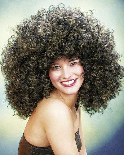 El tema del partido de la peluca afro Habana castaño rizado Cuba Lockenkopf Latina Carnaval
