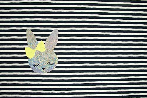 Baumwolljersey Panel 66 cm x 143 cm gestreift & Wendepailette Hasenkopf Kinderstoffe Öko Tex 100 - Preis gilt für 1 Panel