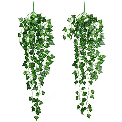 2 Packs Artificial Hanging Vines Plants,SMALUCK Plastic Fake Trailing Weeping Ivy Greenery Drooping Plant for Porches Patio Garden Wedding Hanging Pot Basket Decoration
