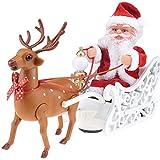 Trineo De Santa Claus con Renos, Navidad Decoración De Juguete De Peluche Música Eléctrica, Interesante Coche Trineo De Juguete Niños