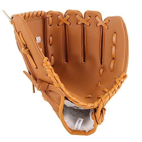 Lawei Guante de béisbol para Deportes de béisbol de Piel sintética para niños Adultos y jóvenes, 3 tamaños - 10.5 Pulgadas, 11.5 Pulgadas, 12.5 Pulgadas, Color Amarillo, tamaño 10.5 Inch
