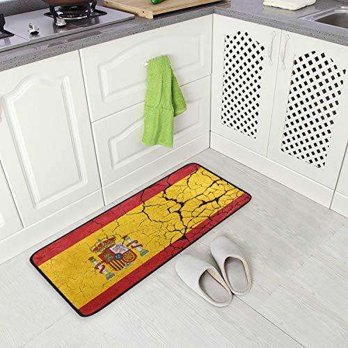 SENNSEE - Felpudo de cocina abstracto, diseño de bandera de España para el hogar, 99 x 50 cm