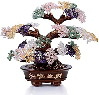KALIFANO Natural Tree of Life Gemstones Chakra Crystal Tree - Bonsai Feng Shui Money Tree for Healing and Luck
