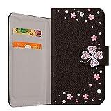 スマホケース OPPO Reno3 5G ケース 手帳型 ケース 大人可愛い ピンク クローバー 四葉 手帳型ケース (ブラック) SIMフリー