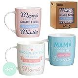 Dcasa - Set 3 Taza Ceramica MAMÁ Regalo Original para Dia Madre